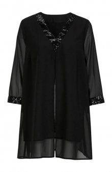 Vrstvená tunika s pajetkovým dekorem / černá