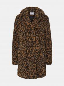 Hnědý vzorovaný kabát z umělého kožíšku Noisy May Gabi - XS