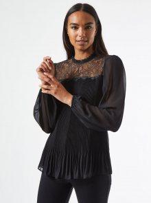 Černá plisovaná halenka s krajkou Dorothy Perkins - XS