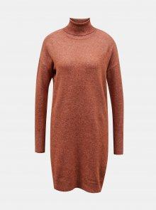Hnědé svetrové šaty s rolákem VERO MODA - XS