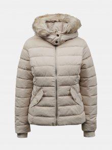 Krémová zimní prošívaná bunda s umělým kožíškem TALLY WEiJL - XS