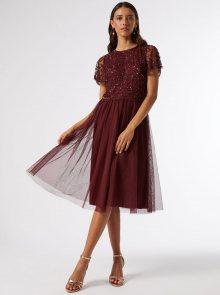 Vínové šaty s flitrovým topem Dorothy Perkins - XS