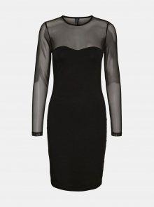 Černé pouzdrové šaty s průsvitnými rukávy VERO MODA Kayly - XS