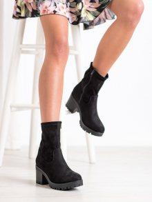 Exkluzívní  kotníčkové boty černé dámské na širokém podpatku 36