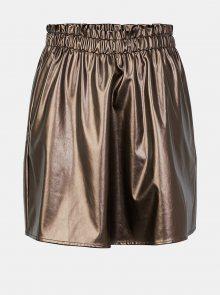 Koženková sukně ve zlaté barvě Pieces Raelin