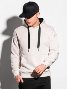 Ombre Clothing Trendová ecru mikina s kapucí B1078