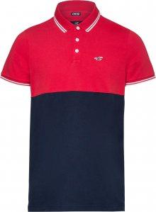 HOLLISTER Tričko červený melír / modrá / bílá
