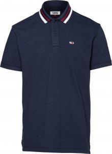 Tommy Jeans Tričko námořnická modř / bílá / světle červená