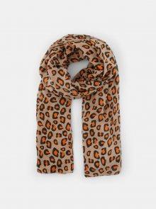 Béžový šátek s leopardím vzorem Pieces Avonja