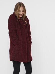 Vínový kabát s umělým kožíškem Noisy May Gabi - XS