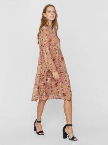 Růžové květované šaty VERO MODA Cille - XS