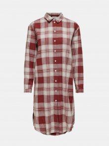 Hnědé kostkované košilové šaty Jacqueline de Yong - S