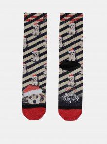 Černo-béžové ponožky s vánočním motivem XPOOOS - ONE SIZE