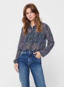 Modrá květovaná průsvitná košile Jacqueline de Yong - XS