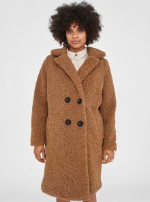 Hnědý kabát z umělého kožíšku Noisy May Gabi - XS