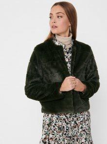 Tmavě zelená bunda z umělého kožíšku Jacqueline de Yong - XS