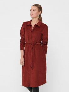 Cihlové manšestrové košilové šaty Jacqueline de Yong - S