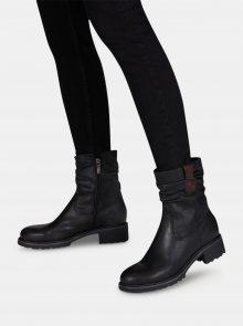 Černé kožené kotníkové boty Tamaris - 36
