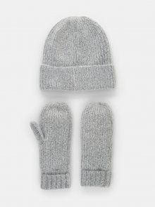 Sada čepice a rukavic v šedé barvě Pieces Ryona - ONE SIZE