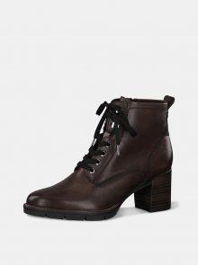 Tmavě hnědé kožené kotníkové boty Tamaris - 36