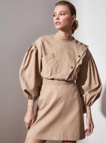 Béžové šaty s knoflíky Trendyol