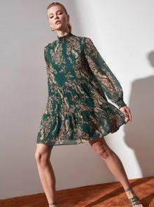 Zelené vzorované šaty se stojáčkem Trendyol