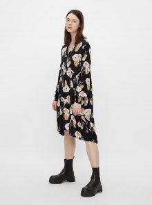 Černé květované šaty Pieces