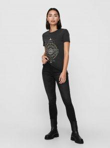 Černé tričko s potiskem ONLY Lucy - XS