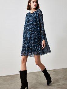 Modré květované plisované šaty Trendyol - XS