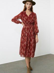 Hnědé vzorované šaty Trendyol - XS