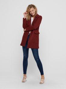 Cihlový vlněný kabát ONLY New - XS