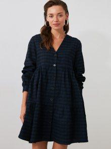 Tmavě modré kostkované volné košilové šaty Trendyol - XS