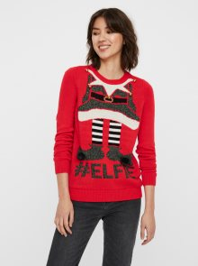Červený svetr s vánočním motivem VERO MODA - XS
