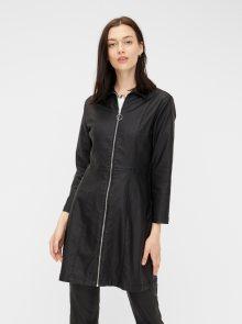 Černé koženkové šaty Pieces - XS