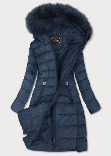 Tmavě modrá prošívaná dámská zimní bunda s kapucí (7754) tmavěmodrá S (36)