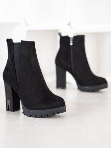 Krásné  kotníčkové boty dámské černé na širokém podpatku 36