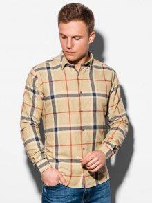 Ombre Clothing Stylová kostkovaná košile ve žluté barvě K564