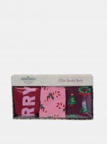 Sada tří párů dámských ponožek v růžové barvě Something Special
