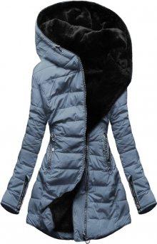 MODOVO Dámska zimní bunda s kapucňou šedo-modrá