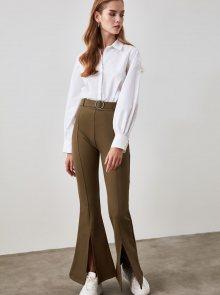 Khaki dámské kalhoty s páskem Trendyol