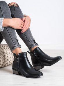 Zajímavé  kotníčkové boty černé dámské na širokém podpatku 41