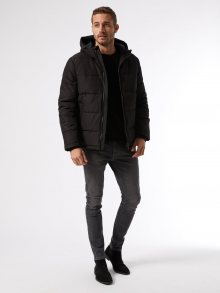 Černá zimní prošívaná bunda Burton Menswear London