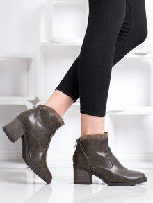 Luxusní  kotníčkové boty dámské hnědé na širokém podpatku