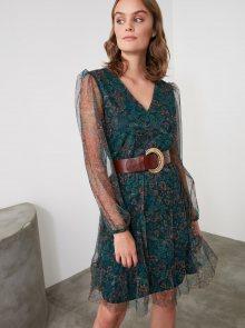 Tmavě zelené květované šaty s průsvitnými rukávy Trendyol