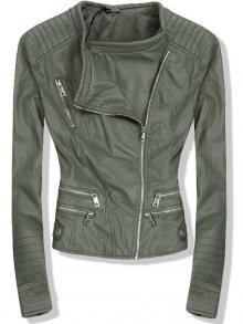 Khaki koženková bunda se stříbrnými zipy