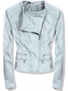 Baby blue koženková bunda se stříbrnými zipy