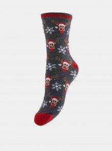 Sada dvou párů šedých ponožek s vánočním motivem Pieces - 39-41
