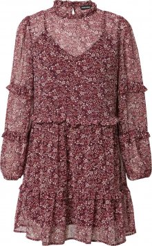 Tally Weijl Košilové šaty vínově červená / bílá / nebeská modř / oranžová