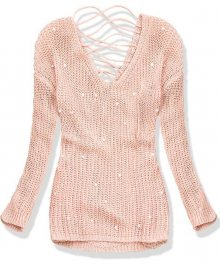 Pudrový svetr s perličkami a šněrováním