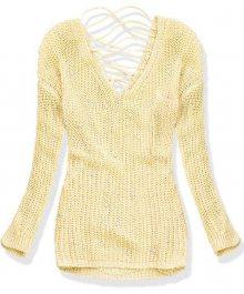 Žlutý svetr s perličkami a šněrováním